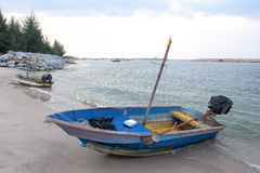 Small fishing wooden boats in the sea Royalty Free Stock Images
