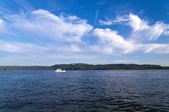Small fishman boat on Columbia river on delightful panorama of w Stock Image