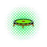 Small fitness trampolin icon, comics style Stock Photos