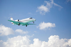Small fixed wing plane taking off Stock Images