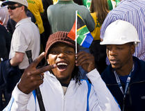 Small Flag, Big Heart - Soccer Supporter. Soccer Fans Celebrate in Sandton CBD Stock Image