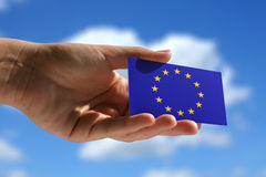 Small flag of European Union Royalty Free Stock Photography