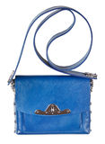 Small flat blue leather ladies bag Stock Photo