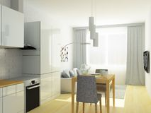 Small flat, studio room, kitchen and sitting room in light gray colors. Royalty Free Stock Photos