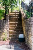 A small flight of outside steps leading to peoples gardens stock image
