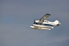 Small Float Plane in Flight Stock Photo