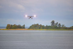 Small Float Plane and Landing Lights Royalty Free Stock Photography