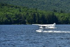 Small float plane taking off Royalty Free Stock Photography