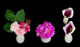 Small flower arrangements. Three small flower arrangements on black Stock Photo