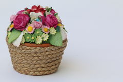 Small Flower Basket Isolated. Isolated, Small Flower Basket for decoration Royalty Free Stock Photo