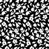 Small flowers pattern 002. Tiny flowers seamless pattern, vector, black and white Stock Image
