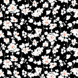 Small flowers pattern 008. Tiny flowers seamless pattern, vector, black and white Royalty Free Stock Images