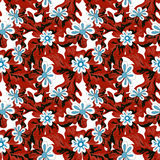 Small flowers on red background seamless pattern Stock Photos