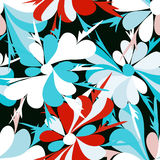 Small flowers on red background seamless pattern Royalty Free Stock Photos