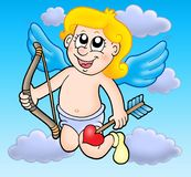 Small flying cupid with bow Royalty Free Stock Photos
