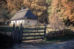 Small folk cottage in Pirogovo museum near Kiev Royalty Free Stock Photos