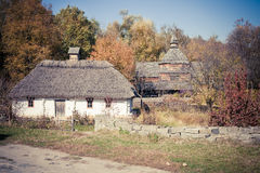Small folk cottage in Pirogovo museum near Kiev Royalty Free Stock Photos
