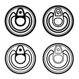 Small food cans black symbol Stock Photos
