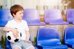 Small football fans disappointed Stock Photo