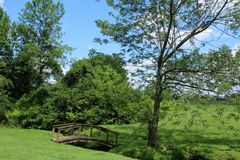 Small footbridge. This small footbridge extends over a creek that leads to a pond. this is a quiet and peaceful scene on a summer day Stock Photo