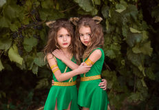 Small forest dwellers. Druids, fabulous creatures, kittens girl peeping from behind the lush thickets of bushes,fashionable toning,creative computer colors Royalty Free Stock Images