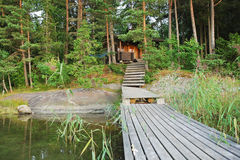 Small forest lake in Lakelands region of Finland Royalty Free Stock Images