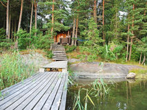 Small forest lake in Lakelands region of Finland Royalty Free Stock Photo