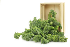 A small form of broccoli, called bimi, in a wooden box Stock Photos
