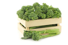 A small form of broccoli, called bimi, in a wooden box Royalty Free Stock Image