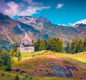 Small fortress on the Maloja Pass. Alps, Switzerland, Europe. Inatagram toning Stock Photo