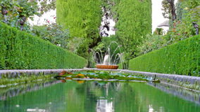 Small fountain in park, close-up stock footage