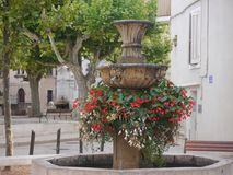 Small fountain side street of Aix en Provence stock photo