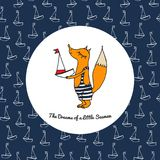 A small fox in a bathing suit with a boat Stock Image