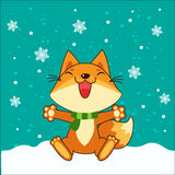 Small Fox. Vector Fox. Fox Sitting. Vector Illustration. Fox In Winter. Snow Falling. Small Fox Plush. Small Fox Stickers. Royalty Free Stock Photos