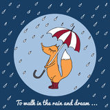 A small fox walks in the rain with an umbrella and boots. A small fox walks in the rain with an umbrella and boots, outline freehand drawing. Vector Stock Image
