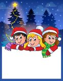 Small frame with Christmas children Royalty Free Stock Images