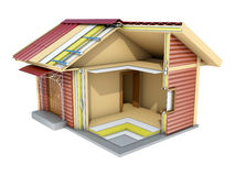 The small frame house in cut. 3d illustration. The small frame house in section. A good illustration for indoor and outdoor advertising. 3d illustration Royalty Free Stock Images