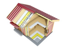 The small frame house in cut. 3d illustration Stock Photo