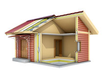 The small frame house in cut. 3d illustration. The small frame house in section. A good illustration for indoor and outdoor advertising. 3d illustration Royalty Free Stock Photography