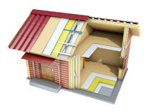 The small frame house in cut. 3d illustration. The small frame house in section. A good illustration for indoor and outdoor advertising. 3d illustration Royalty Free Stock Image