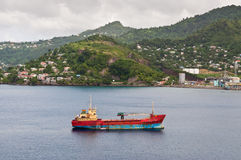 Small freighter at anchorage island of Grenada Stock Photos
