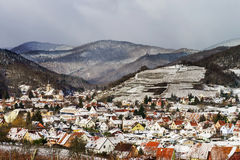 Small french village over the snow Stock Image