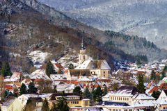 Small french village over the snow Royalty Free Stock Images