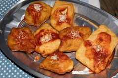 Small fried pizzas royalty free stock photography