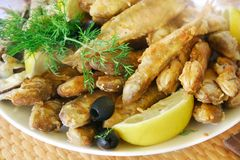 Small fried sea fish. Lots of small fried sea fish Stock Photography