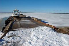 Small frozen harbor. In Orjaku, Kassari, Hiiumaa, Estonia at winter Stock Images
