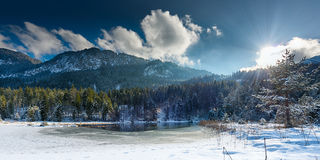 Small frozen lake in austrian alps Royalty Free Stock Image