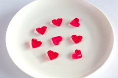 Small fruit jelly in the shape of heart Stock Image