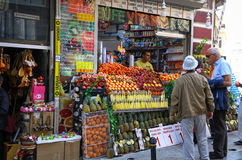 Small fruits and fresh juices shop on the streets of Istanbul Stock Image