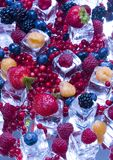 Small fruits among ice cubes Royalty Free Stock Photo